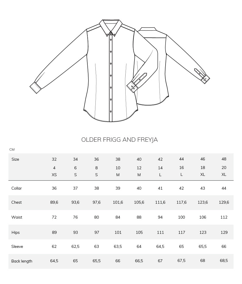 Older Frigg og Freyja size chart measurement table