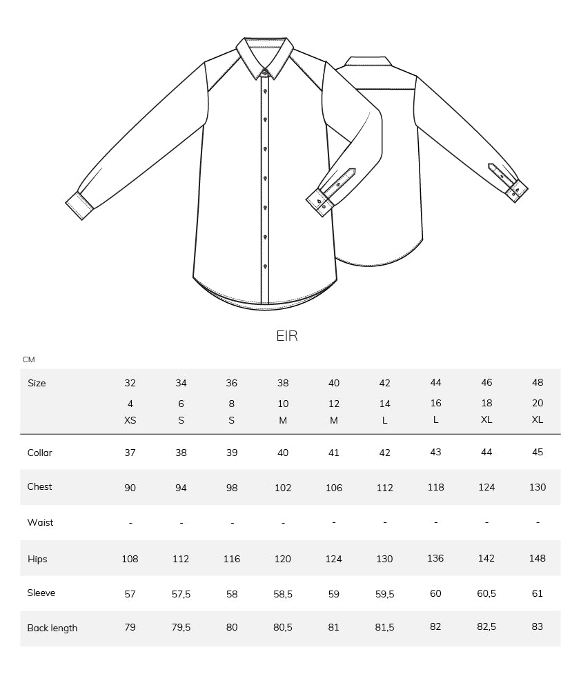 Eir size chart measurement table