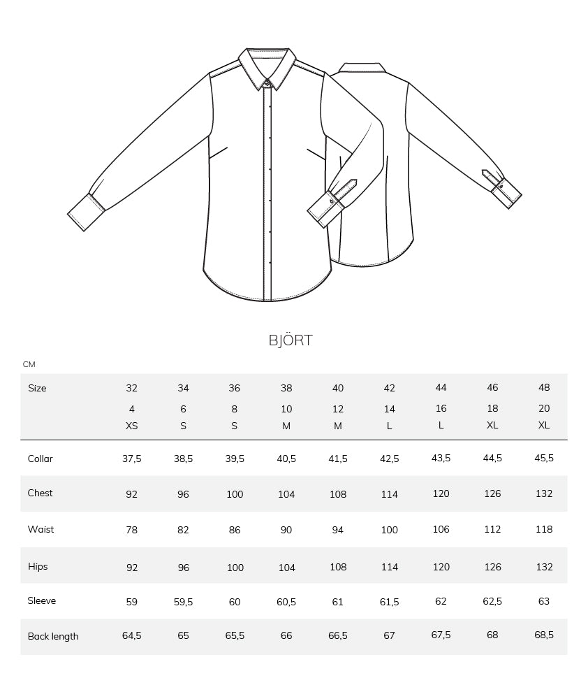 Björt size chart measurement table