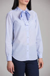 SKULD MANDARIN BOW-TIE COLLAR LOOSE SHIRT