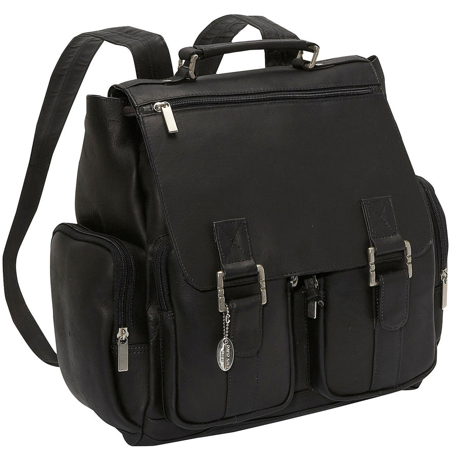 David King Leather Laptop Backpack w/5 Zipper Pockets