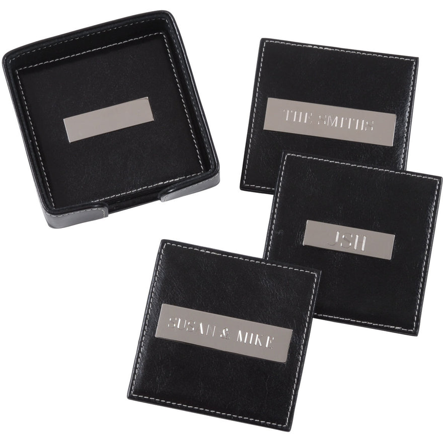 Royce Leather Set of 4 Plate Square 2in Coasters