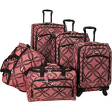 American Flyer Silver Clover 5pc Spinner Luggage Set