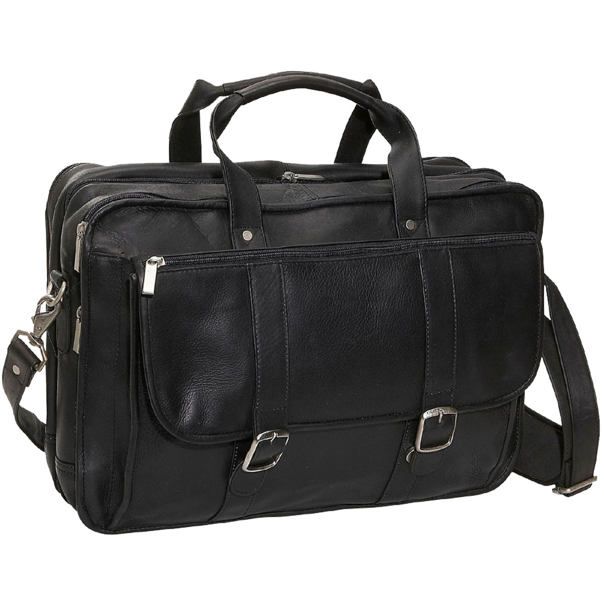 David King Expandable Leather Laptop Briefcase