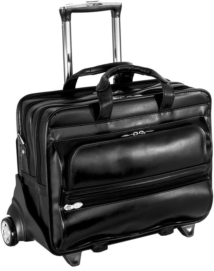 McKlein P Series Franklin Leather 17in Wheeled Laptop Case