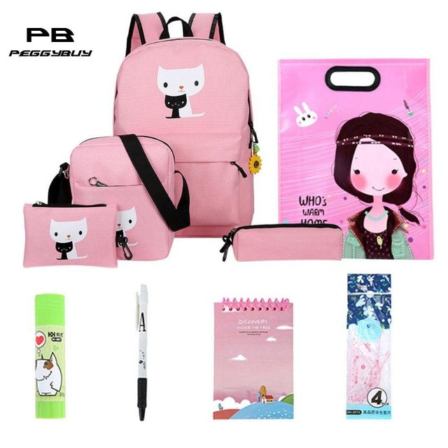 10pcs/Set Oxford Waterproof Backpack Cats Printed Zipper Bag School for Women Casual Travel Bags