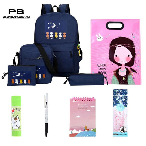 10pcs/Set Oxford Waterproof Backpack Cats Printed Zipper Bag School for Women Travel Bag Luggage