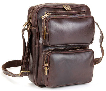 LeDonne Leather Distressed Multi Pocket Ipad/E-Reader Mens Bag