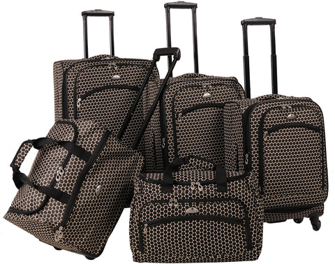American Flyer Small Dots 5 Piece Spinner Luggage Set