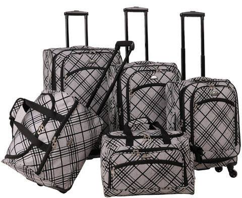 American Flyer Silver Stripes 5 Piece Spinner Luggage Set