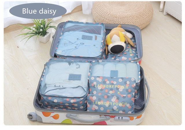 2017 6pcs/set Fashion Double Zipper Waterproof Polyester Men and Women Luggage Travel Bags
