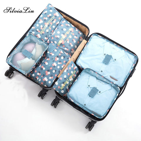 2018 New 7PCS/Set High Quality Oxford Cloth Travel Mesh Bag In Bag Luggage Organizer Packing Cube