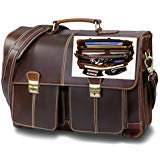 Top Quality Leather Business Briefcase / Messenger bag / Vintage Full Grain Satchel / 15.6 inch Computer bag. Easy-Open Handcrafted timeless design by Andiamo Exclusive. 11 Compartment Laptop Bag.