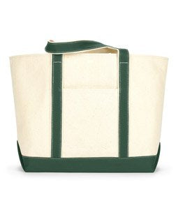 Ultraclub 8872 Extra-Large Canvas Boat Tote Bag - Natural & Forest
