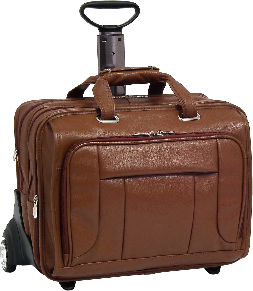 McKlein S Series West Town Leather Fly-Through 17in Wheeled Laptop Case