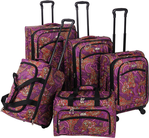 American Flyer Paisely 5 Piece Spinner Luggage Set