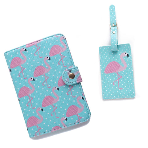 2PCS/Set PU Holder Women Travel Passport Cartoon Passport Cover ID Credit Card Flamingo Luggage Tag