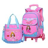 2PCS/set Hot Sale Trolley Backpack Girls Wheeled School Bag Children Travel Luggage Suitcase On
