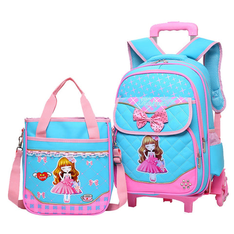 2PCS/set Hot Sale Trolley Backpack Girls Wheeled School Bag Children Travel Luggage Suitcase On Wheels Kids Rolling Book Bag