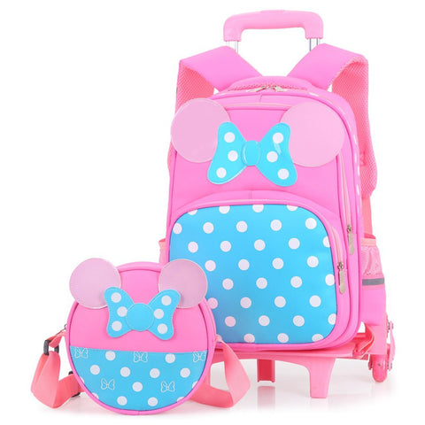 2PCS sets Girls Trolley Rolling Backpack Climb the stairs school bag children Detachable waterproof