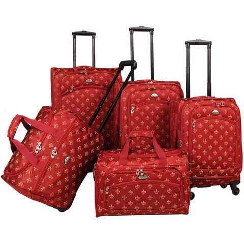 American Flyer Fleur De Lis 5 Piece Spinner Luggage Set