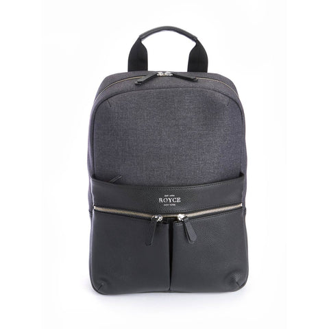 Royce Power Bank Charging Leather Laptop Backpack