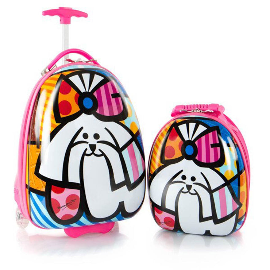 Britto for Kids Pink Dog Luggage and Backpack Set