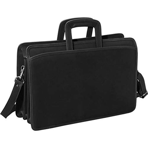 Jack Georges Unisex University Triple Gusset Top Zip Tri-Pocket Briefcase (Custom Black)