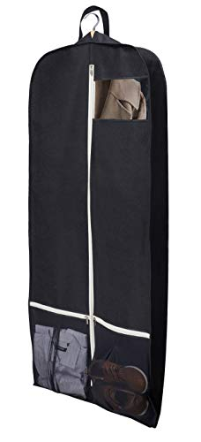 "Sleeping Lamb Breathable 60"" Dress Garment Bag with Zipper Shoe Pockets Trifold Hanging Clothes Storage Bags Cover for Long Dresses, Wedding Gown, Suits Black"