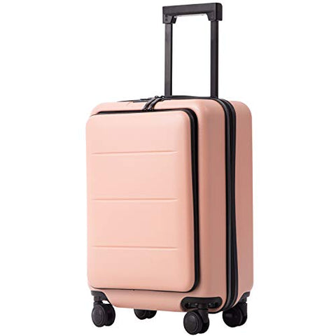 COOLIFE Luggage Suitcase Piece Set Carry On ABS+PC Spinner Trolley with Laptop pocket (Sakura pink, 20in(carry on))