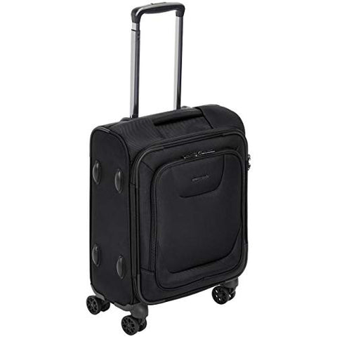AmazonBasics Expandable Softside Carry-On Spinner Luggage Suitcase With TSA Lock And Wheels - 18 Inch, Black