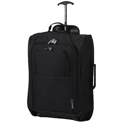 Maximum Airline Allowance Carry On Hand Luggage | Wheeled Travel Bag Lightweight Small Soft Trolley for Men & Women | Approved by Delta, United, Southwest & Many More (Black)