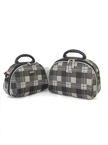 "Dejuno Makeup Bag Grey With Zipper And Multi Compartment Easy To Carry 12"" Set"