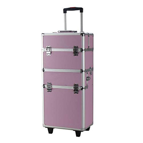 "GHP 13.78""x8.66""x29.53"" Pink Aluminum Draw-Bar Style Makeup Train Case w 2-Pcs Keys"