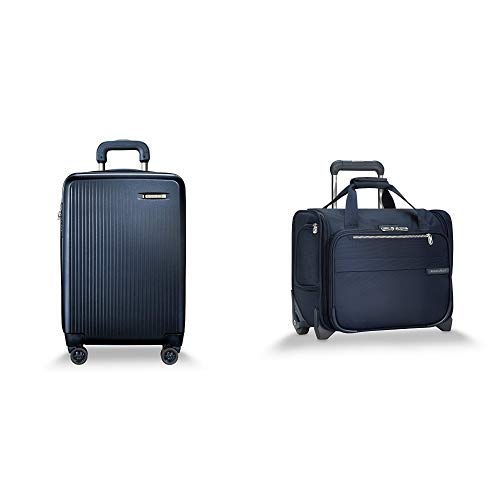 Briggs & Riley Sympatico Navy Domestic Carry-On Expandable Spinner and Baseline Navy Rolling Cabin Bag