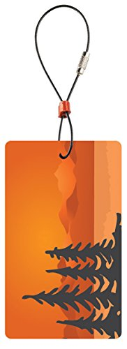 Lewis N Clark Travel Green Luggage Tag, Trees, Orange