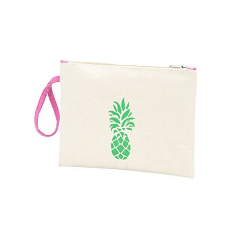 Pineapple Canvas 12 X 9 Inch Womens Canvas Accessory Full Zipper Pouch