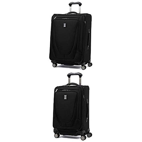 "Travelpro Luggage Crew 11 25"" Expandable Spinner Suitcase w/Suiter + 20"" Carry-On Spinner (Black)"