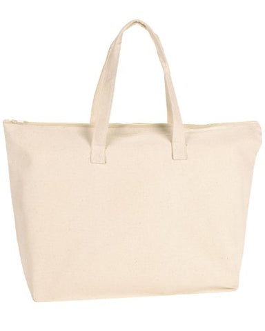 Ultraclub 8863 Uc Zipper Canvas Tote - Natural - One