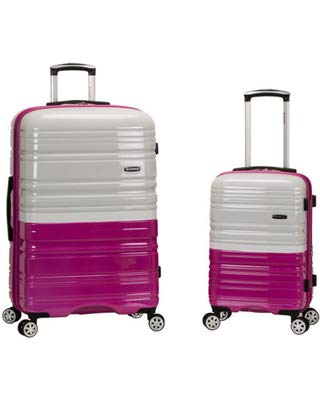Rockland 20 Inch 28 Inch 2 Piece Expandable Abs Spinner Set, MAGENTA/WHITE