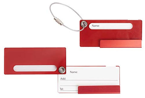 Travelambo Aluminum Luggage Tag Bag Tags 2 pcs Set (Red)