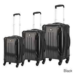 Triforce Apex 101 Collection Hardside 3-Piece Spinner Luggage Set (Black)