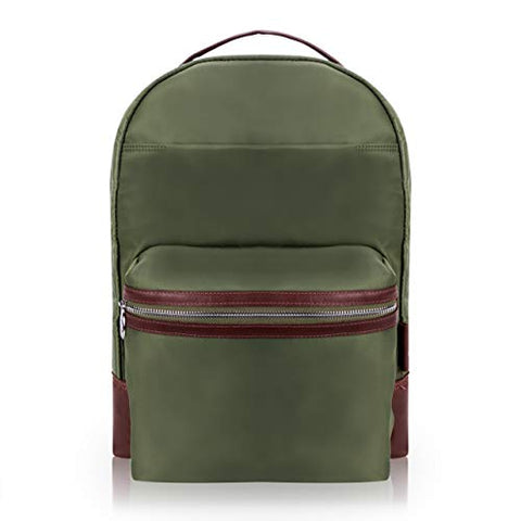 "McKlein, N Series, Parker, Nano Tech-Light Nylon with Leather Trim, 15"" Nylon Dual Compartment Laptop Backpack, Green (18551)"