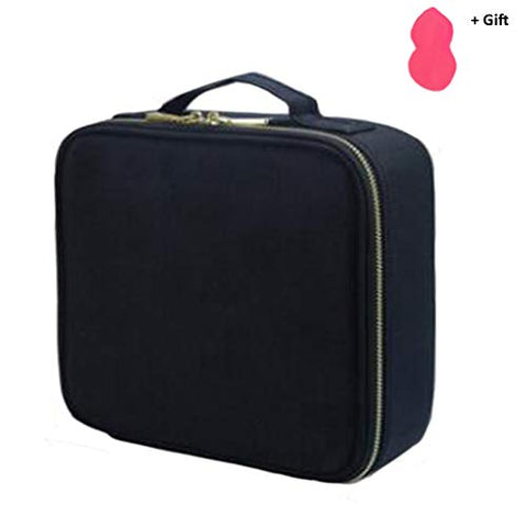 Travel Makeup Case Portable Cosmetic Train Case with Golden zipper for Women