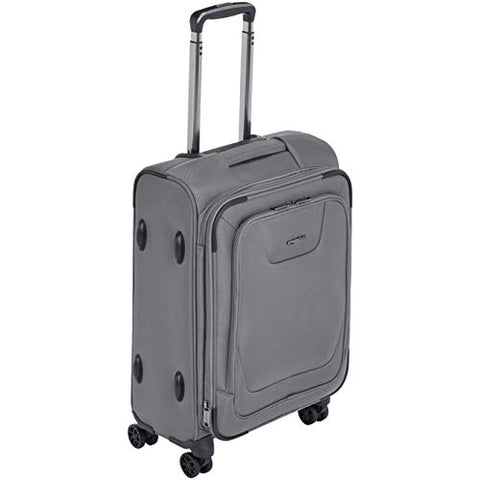 AmazonBasics Expandable Softside Carry-On Spinner Luggage Suitcase With TSA Lock And Wheels - 21 Inch, Grey