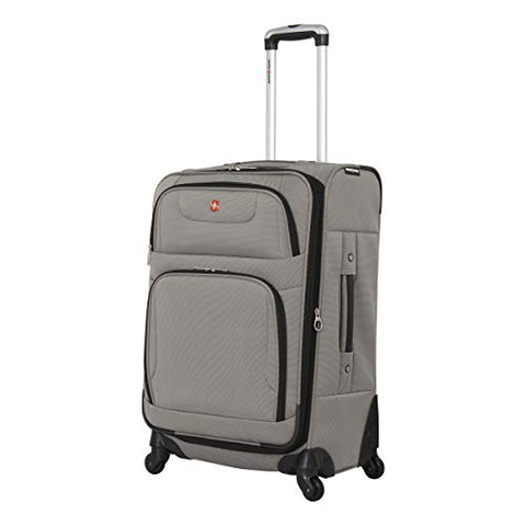 "Swissgear 24"" Expandable Spinner Luggage- Pewter. Expandable Unisex Suitcase Great as Carry-On Travel Luggage (Pewter, 24"")"