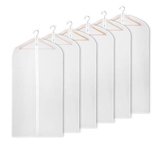 Univivi Hanging Garment Bag 43 inch Suit Bag for Storage(Set of 6) Washable Translucent Lightweight Garment Bags for Dress Suits, Jackets, T-Shirt, Sports Coats etc.