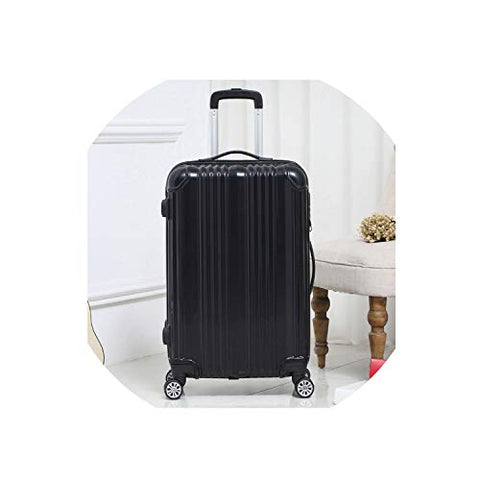 New Hot Suitcase Carry-Ons Women Travel Spinner Rolling Luggage On Wheels,Black,22