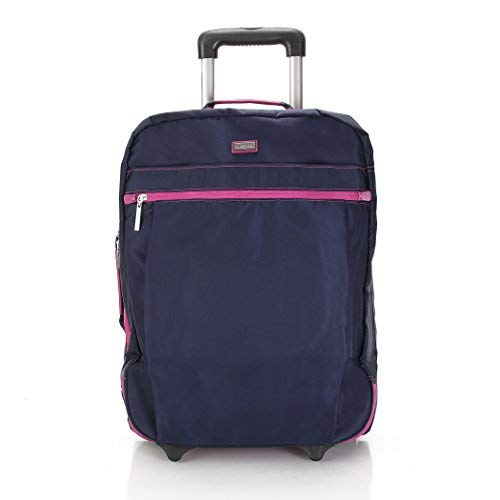 Hadaki Plane Hopping Roller Carry On,Navy/Fuchsia,One Size