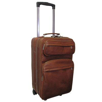 "AmeriLeather Leather 22"" Expandable Carry On Pullman (Brown)"